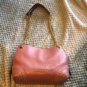 Michael Kors nude pink handbag with chain straps